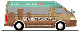 上野三碑めぐりバスイラスト